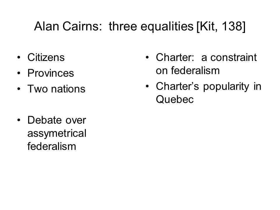 Alan Cairns: three equalities [Kit, 138]